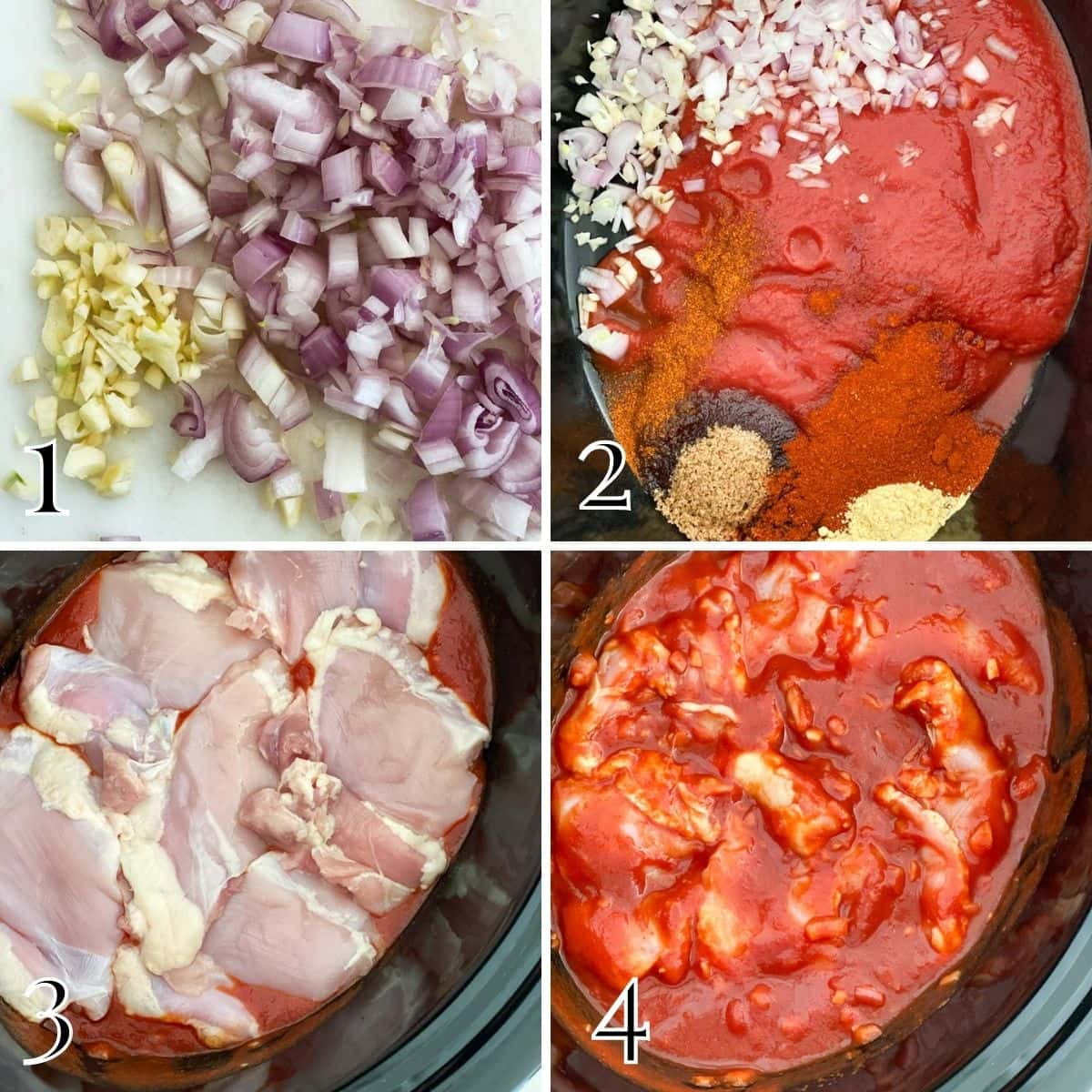 A step by step process of making crock pot bbq chicken thighs from adding spices, chicken, and cooking.