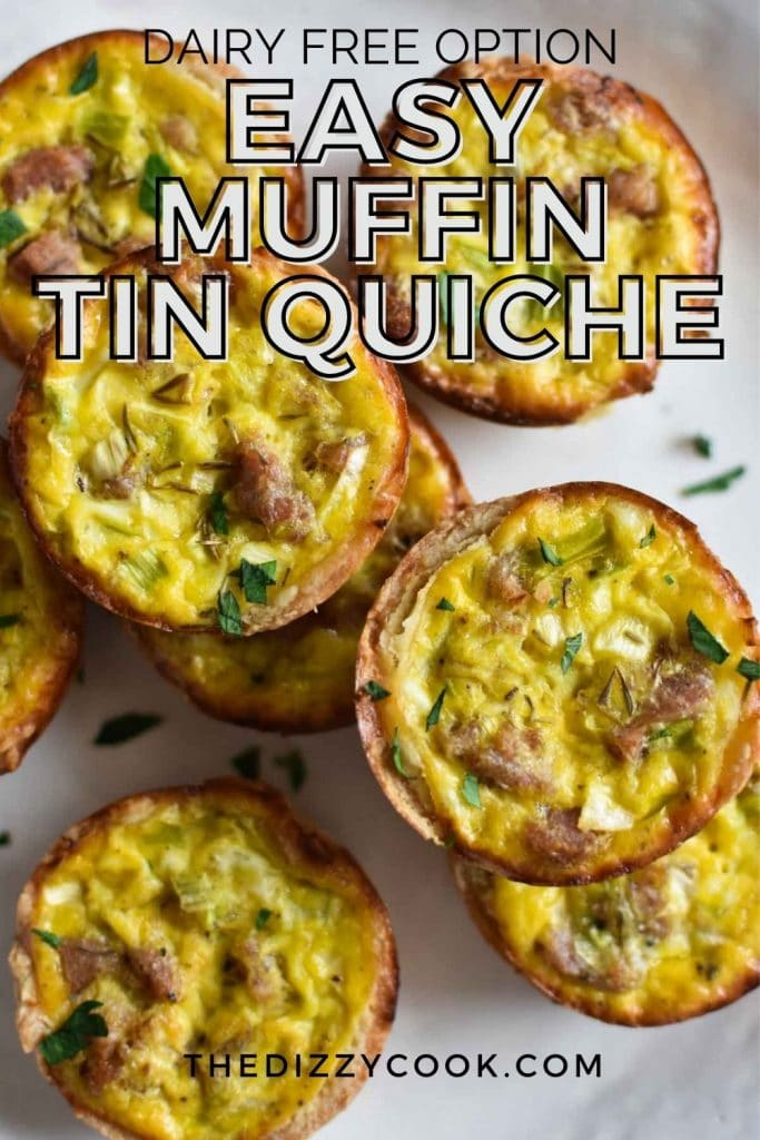Dairy free quiche stacked on a plate with sausage and leeks