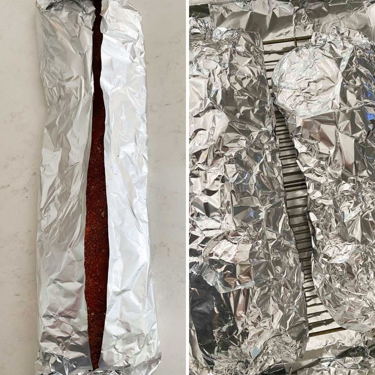 Folding foil around two racks of ribs and placing them on top of a baking sheet