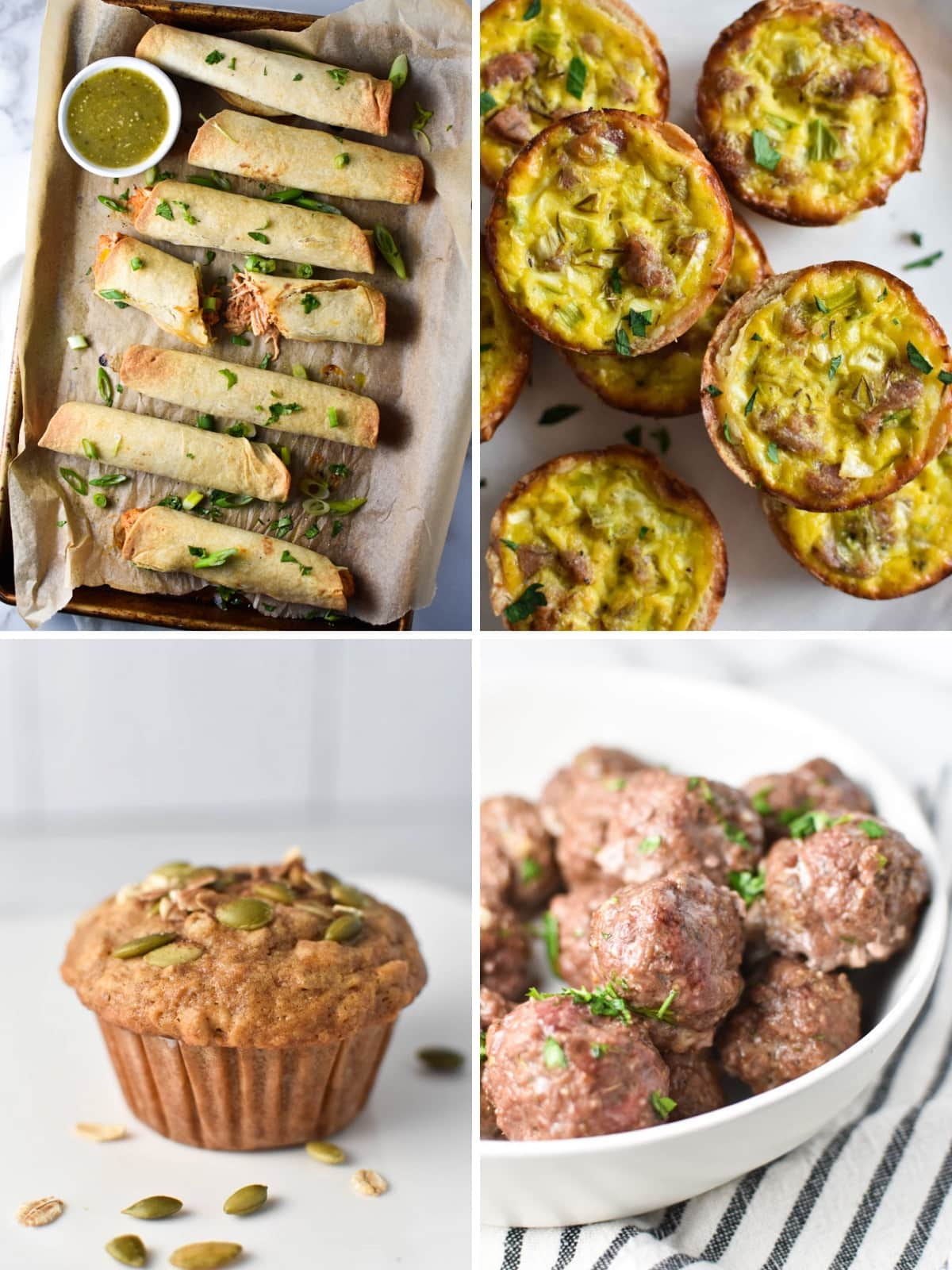 Meal prep snack ideas including taquitos, muffins, meatballs, and quiche