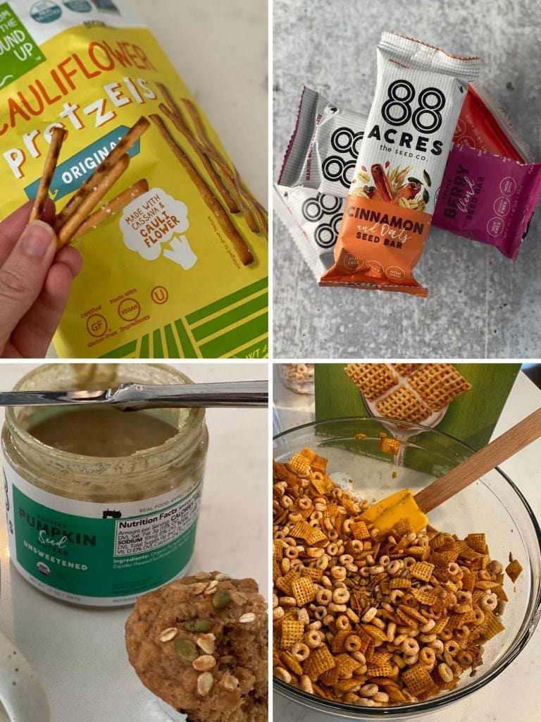 Four images of migraine diet snacks including preztels, chex mix, and seed bars