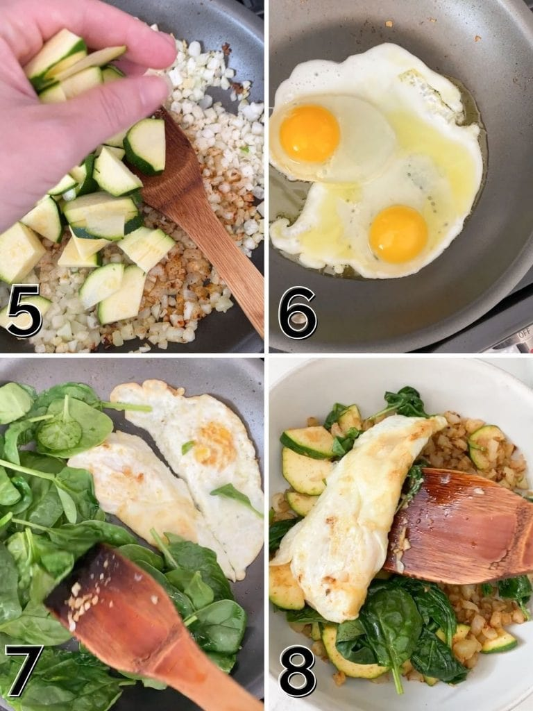 A how to collage on frying an egg and building a protein bowl