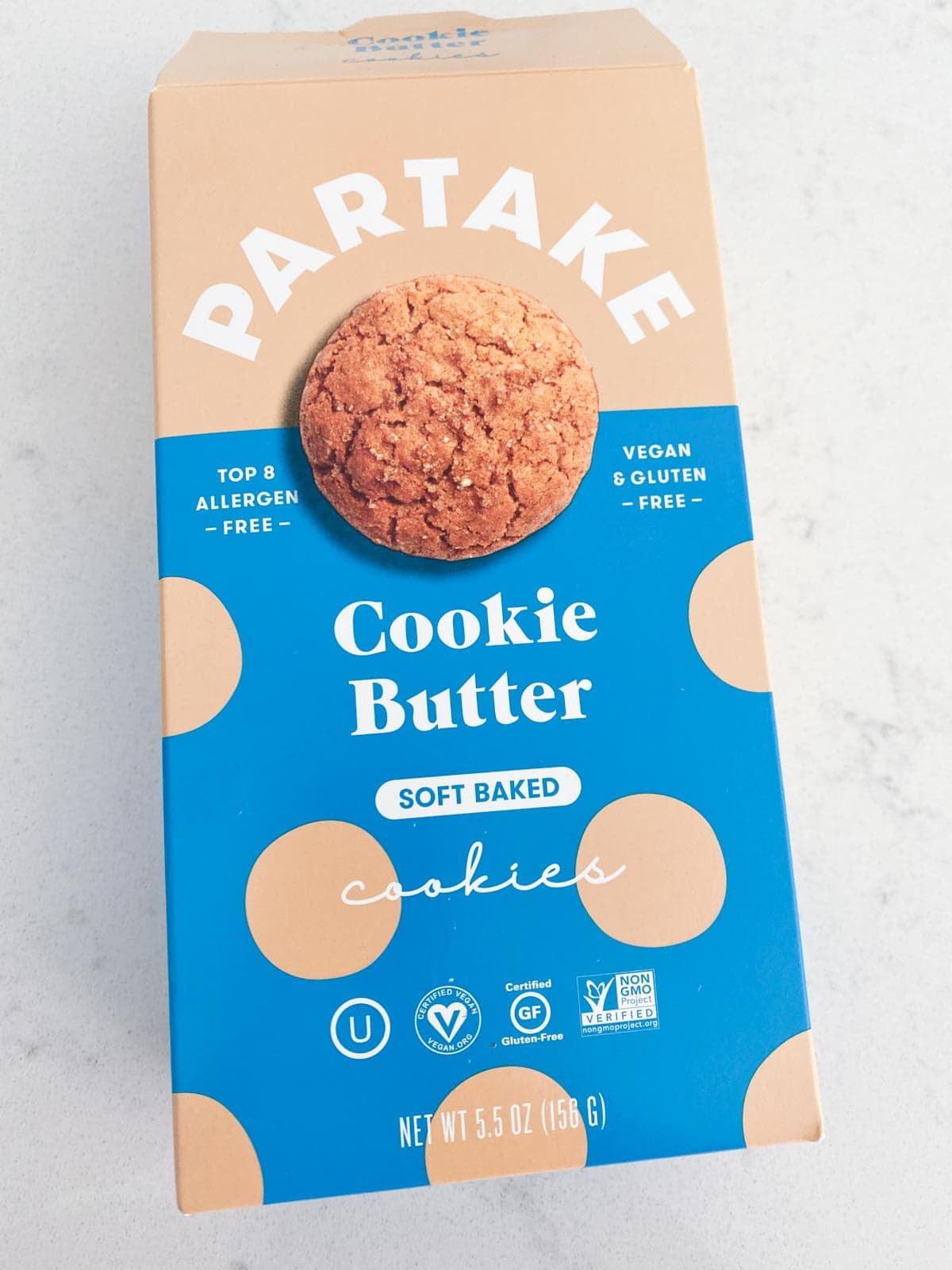 A partake cookie butter cookie box on a white table
