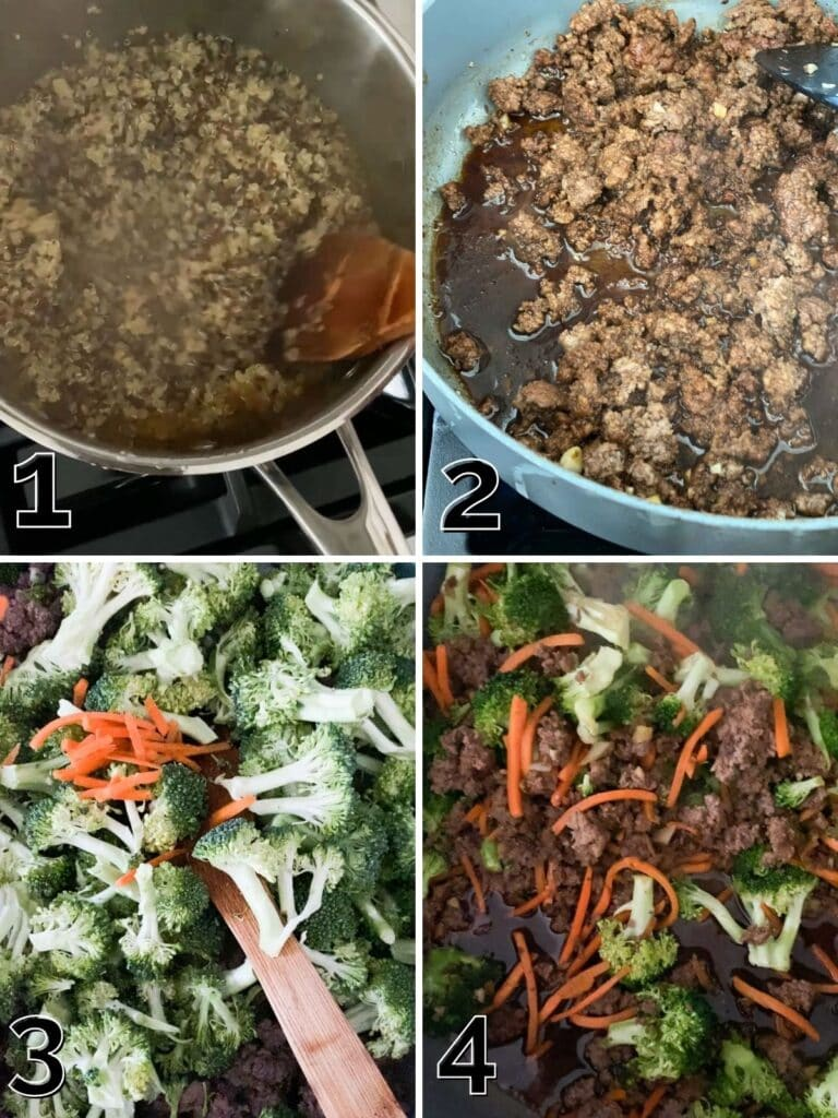 A step by step picture of quinoa being prepped and stir fry being cooked