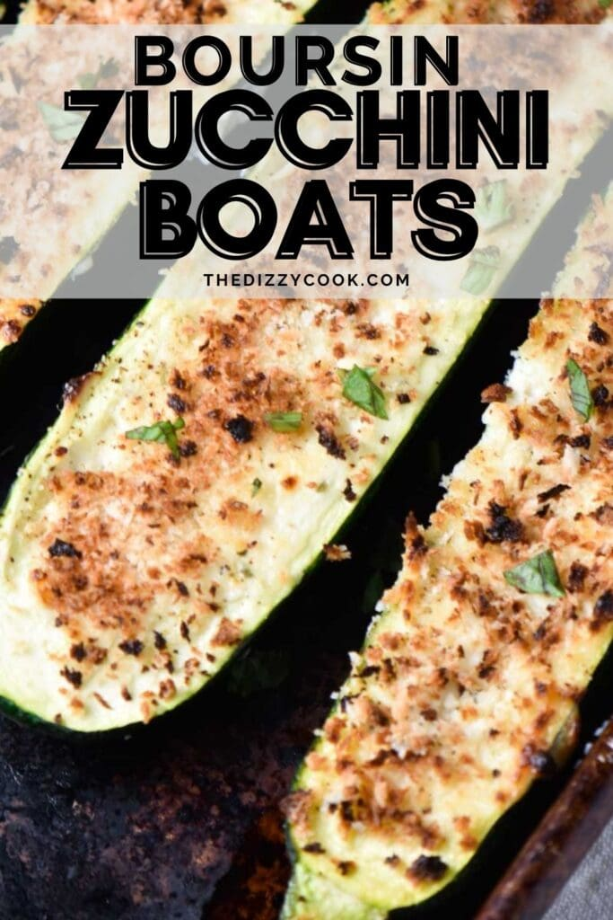 Three zucchini boats stuffed with boursin cheese and panko